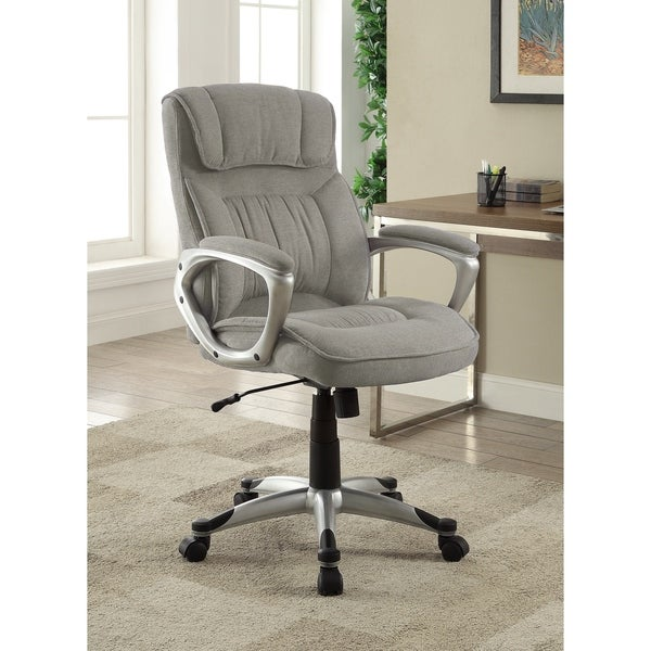 Serta Executive Office Chair in Glacial Grey Linen, Metallic Finish