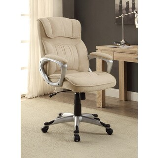 Serta Executive Metallic Finish Fawn Tan Linen Office Chair