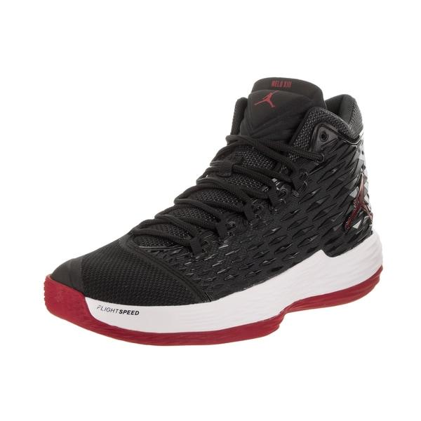 purchase cheap bc525 2a49b Nike Jordan Men  x27 s Jordan Melo M13 Black Red White Textile