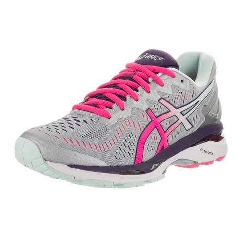 Asics Womens GEL-Kayano 23 Running Shoes, Silver/Pink Glow/Purple