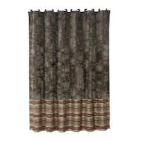 HiEnd Accents Silverado Matching Shower Curtain With 12 Fabric Wrapped Rings