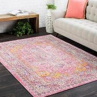 Vintage Distressed Oriental Pink Runner Rug (3' x 7'10)