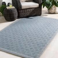 """Durable Trellis Indoor/Outdoor Blue Area Rug - 5' x 7'6"""""""