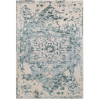 Traditional Blue & Cream Vintage Medallion Rug (2' x 3')