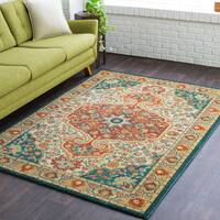 Copper Grove Tannourine Orange & Cream Floral Medallion Area Rug (5'3 x 7'3)