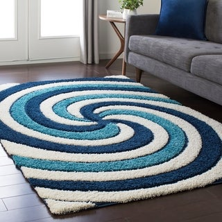 Soft Swirly Shag Blue Area Rug - 2' x 3'