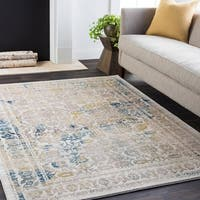 Charlotte Distressed Traditional Beige Area Rug (5'3 x 7'6)