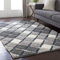 Soft Plaid Shag Grey Area Rug (2' x 3')