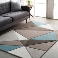 Modern Geometric Carved Blue and Grey Area Rug (5'3 x 7'6)