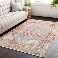 Vintage Persian Traditional Blue and Beige Area Rug - 2' x 3'