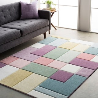 Modern Geometric Carved Pink Multicolored Rug (5'3 x 7'6)