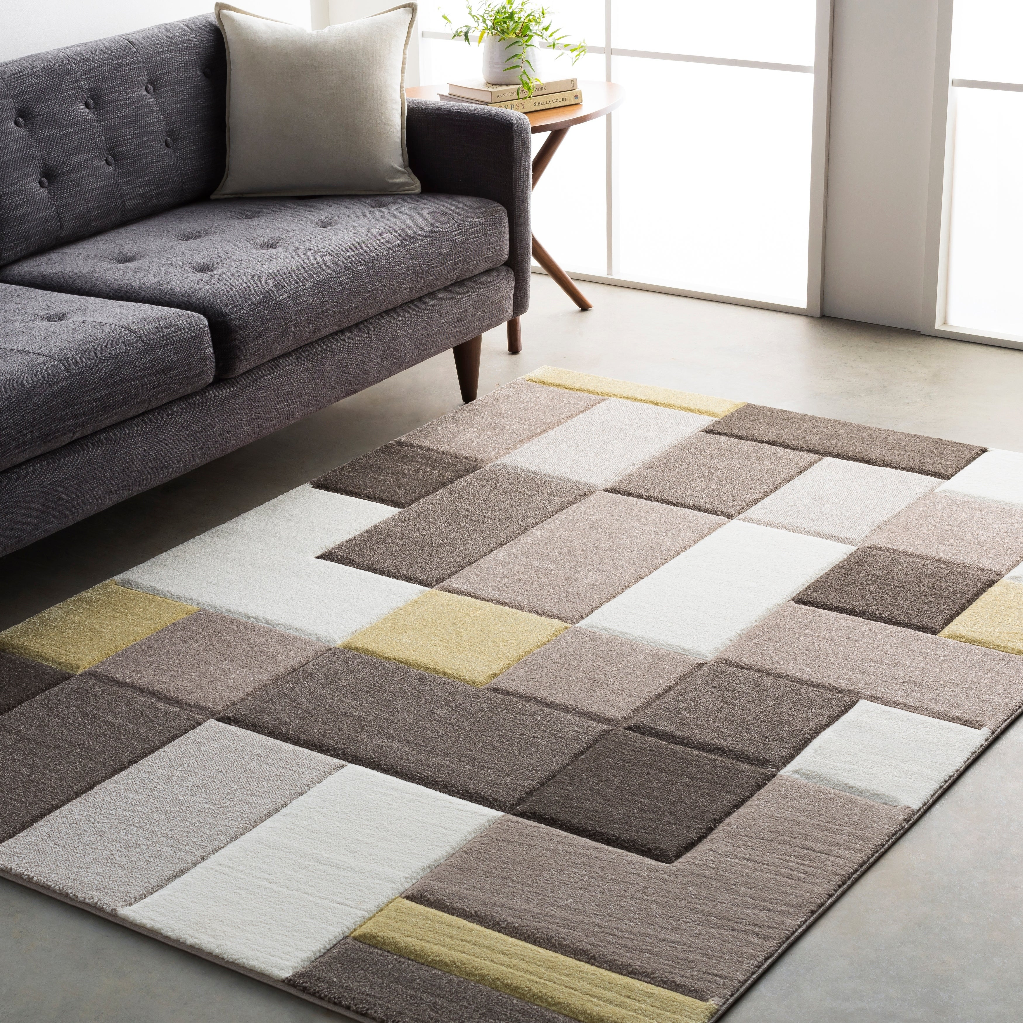 Modern Geometric Carved Grey And Yellow Area Rug 5 3 X 7 6 Overstock 15924680