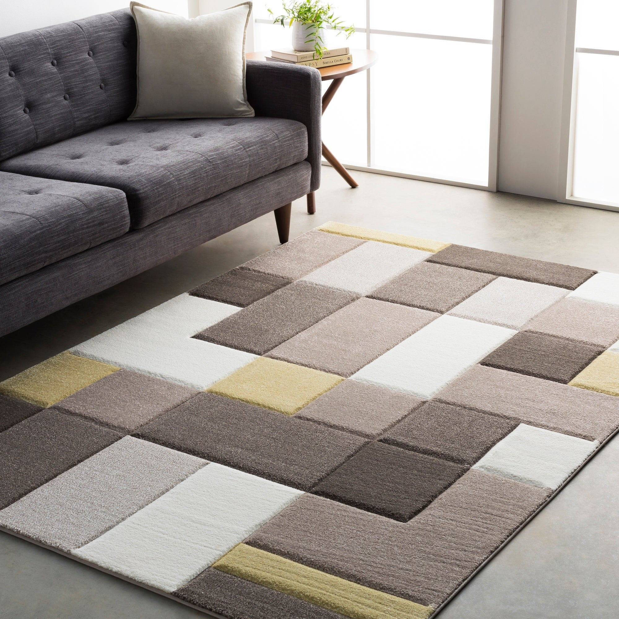 Modern Geometric Carved Grey And Yellow Area Rug 5 3 X 7 6