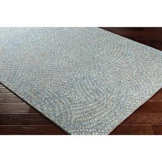 "Contemporary Blue/Grey Wool Geometric Area Rug (5' x 7' 6) - 5' x 7'6"""