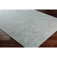 Contemporary Blue/Grey Wool Geometric Area Rug - 5' x 7' 6