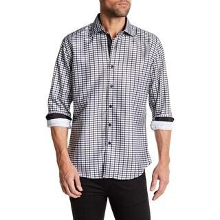 Azaro Oumo Men's Classic Gingham Black Button Down Shirt