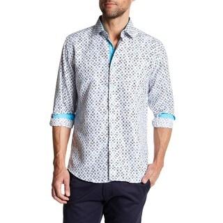 Azaro Aoumo Men's Classic Ohs Turqouise Button Down Shirt