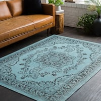 "Traditional Persian Distressed Light Blue Area Rug - 5'3"" x 7'6"""