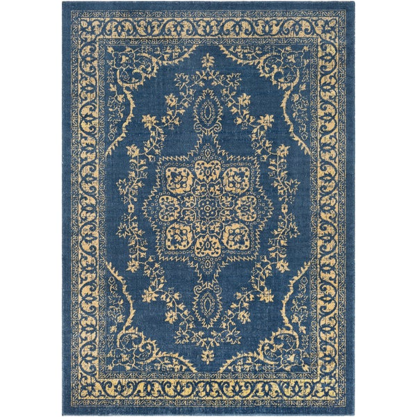 Traditional Persian Oriental Navy Blue Yellow Area Rug 5