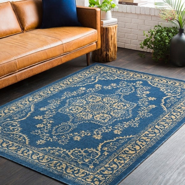 Shop Traditional Persian Oriental Navy Blue Yellow Area Rug 5 3 X