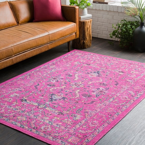 shop traditional persian distressed pink area rug 5 39 3 x 7 39 6 on sale free shipping today. Black Bedroom Furniture Sets. Home Design Ideas