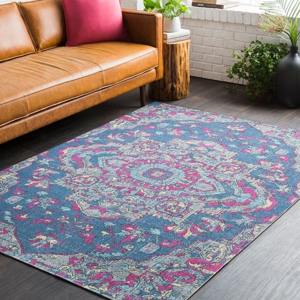 shop persian medallion distressed blue and pink area rug 5 39 3 x 7 39 6 on sale free shipping. Black Bedroom Furniture Sets. Home Design Ideas