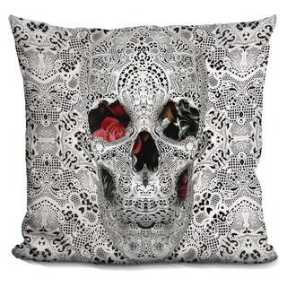 Ali Gulec 'Lace skull light 6000' Throw Pillow