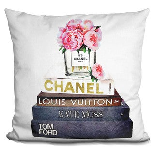 Amanda Greenwood 'Peonies and Fashion Books' Throw Pillow