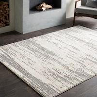 Teddy Distressed Modern Grey & Cream Area Rug (5'3 x 7'6)