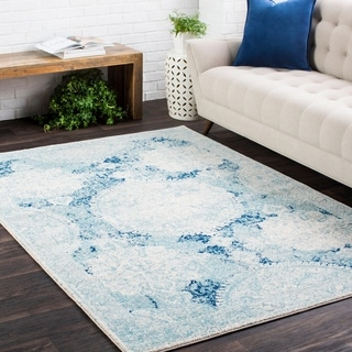 Distressed Vintage Medallion Blue-(2' x 3')