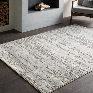 Distressed Modern Abstract Grey (5'3 x 7'6)