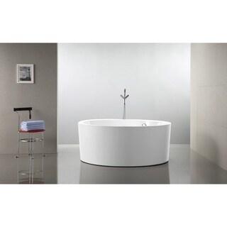 Vanity Art 59 Inch Freestanding White Acrylic Soaking Bathtub