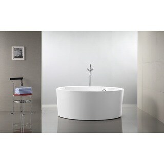 Vanity Art 59-Inch Freestanding Acrylic Bathtub Modern Stand Alone Soaking Tub with Chrome Finish Overflow & Pop-up Drain
