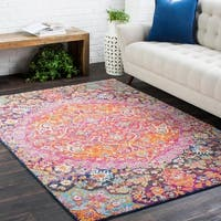Annie Pink & Purple Bohemian Medallion Area Rug - 2' x 3'