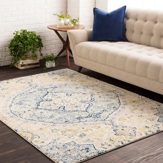 Annie Blue & Yellow Vintage Medallion Area Rug - 2' x 3'
