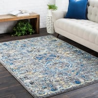 Traditional Colonial Vintage Blue and Grey Area Rug - 2' x 3'