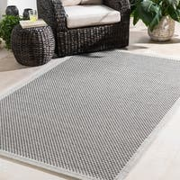 Bordered Durable Indoor/Outdoor Grey Area Rug - 2' x 3'
