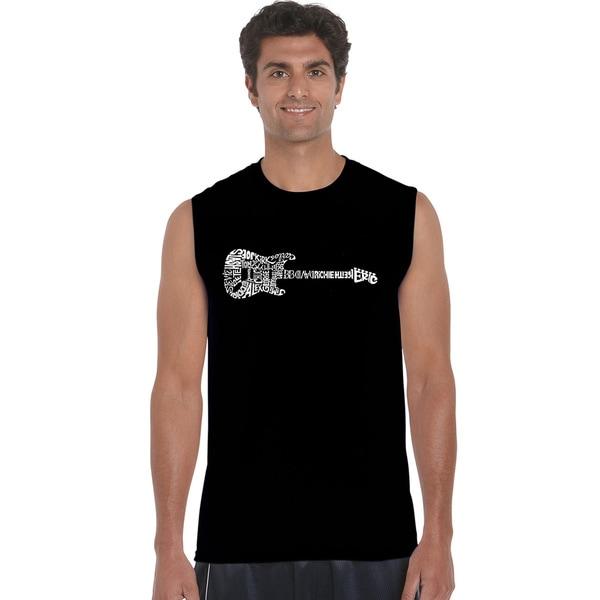 Los Angeles Pop Art Mens Sleeveless T-shirt - Rock Guitar