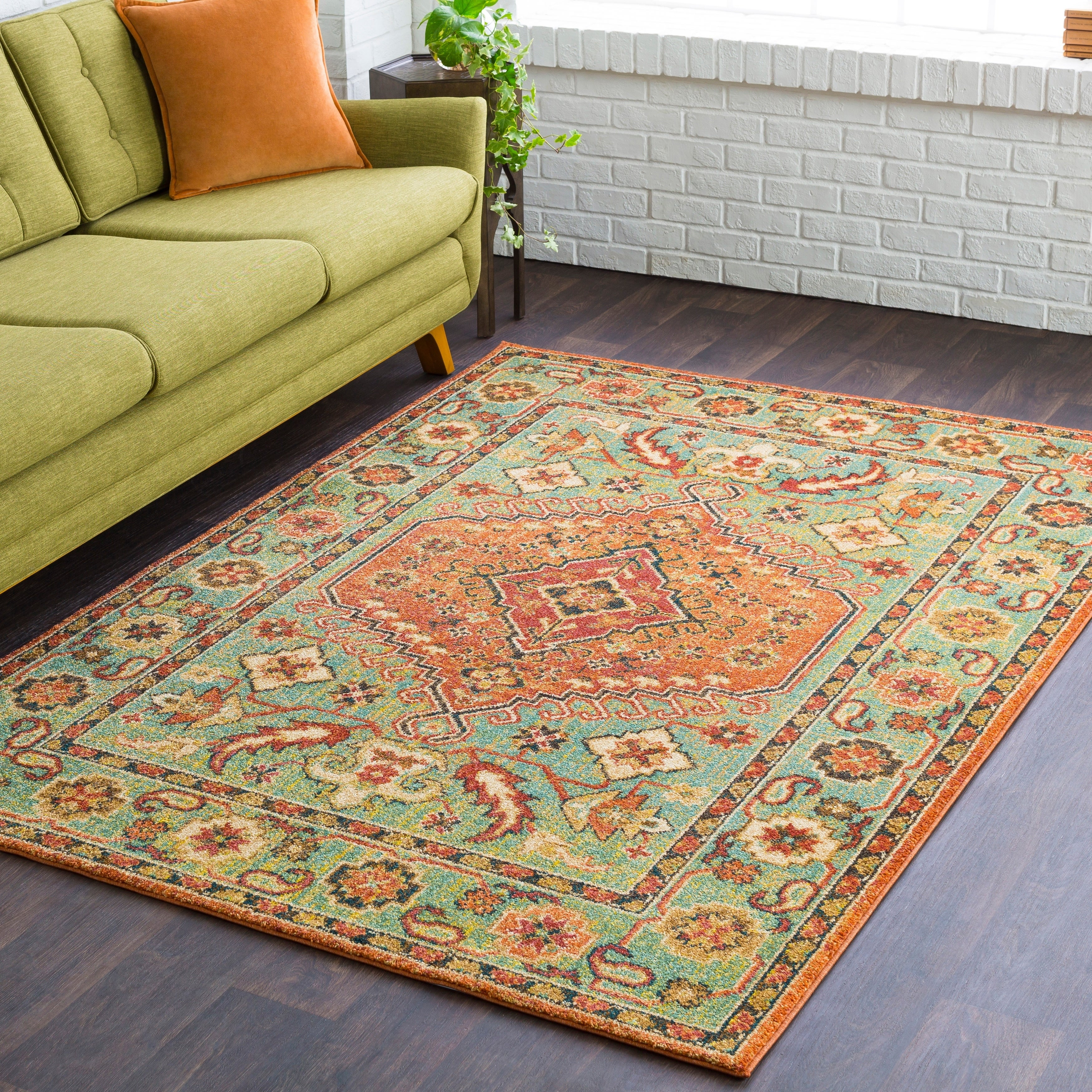 Shop Hillary Southwestern Orange & Green Area Rug   2' x 3'   On