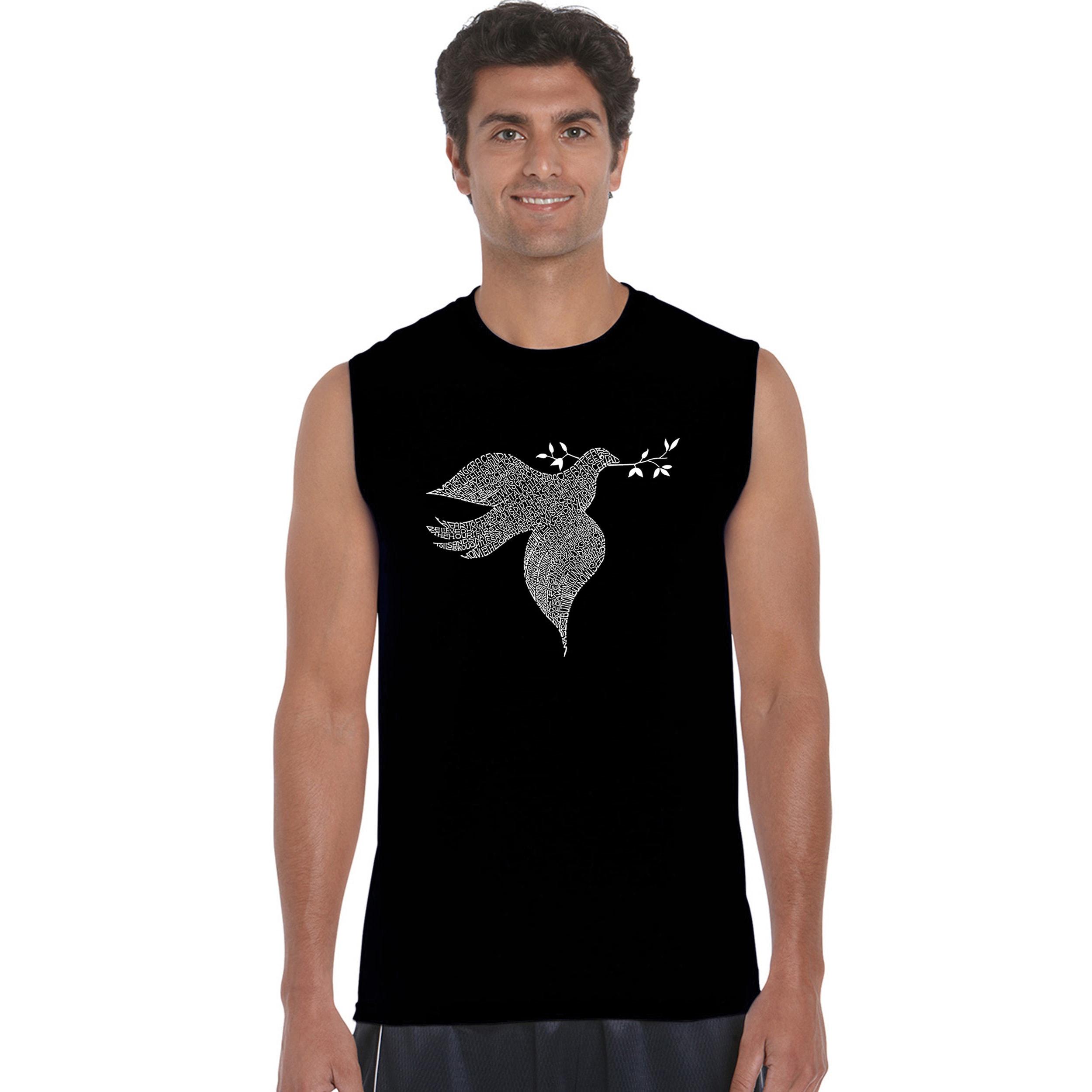Los Angeles Pop Art Men's Sleeveless T-shirt - Dove (Blac...