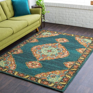 Calvin Updated Traditional Teal Rug (2' x 3')