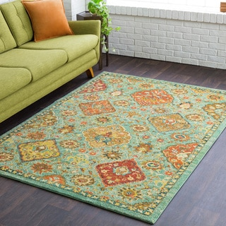 Hadley Traditional Floral Green Rug (2' x 3')