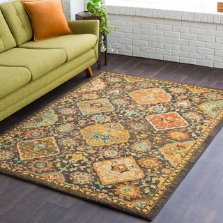 Hadley Traditional Floral Brown Multi Rug (2' x 3')