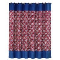 HiEnd Accents Floral Shower Curtain With Blue Detail