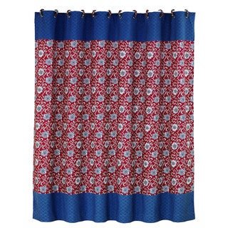 HiEnd Accents Floral Shower Curtain With Blue Detail 72 X 72