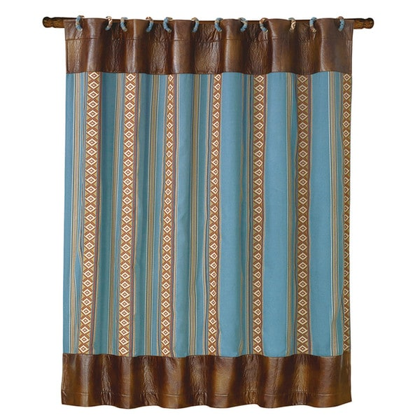 HiEnd Accents Striped Turquoise Shower Curtain