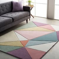 Modern Geometric Carved Pink Multi Area Rug (2' x 3')