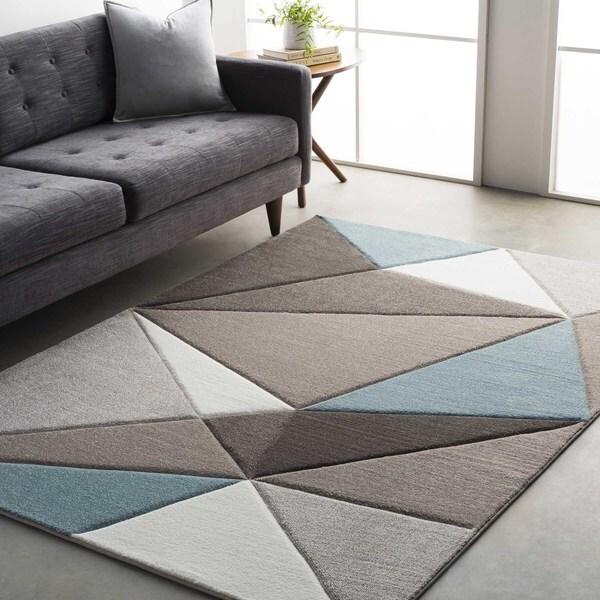 Modern Geometric Carved Blue and Grey (2' x 3')