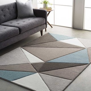 Modern Geometric Carved Blue and Grey Area Rug (2' x 3') - Thumbnail 0
