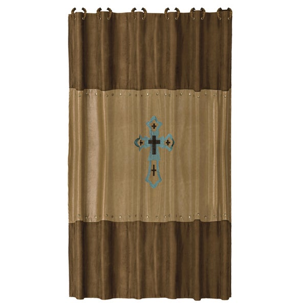 HiEnd Accents Las Cruses Embroidered Shower Curtain